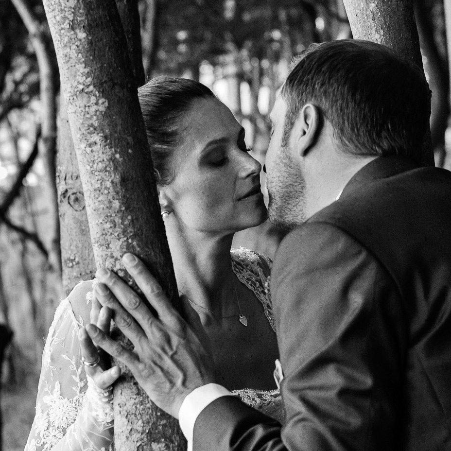Romantischer Hochzeitskuß von Braut und Bräutigam im märchenhaften Hochuferwald am Weissenhäuser Strand an der Ostsee beim Hochzeitsfotograf Hamburg