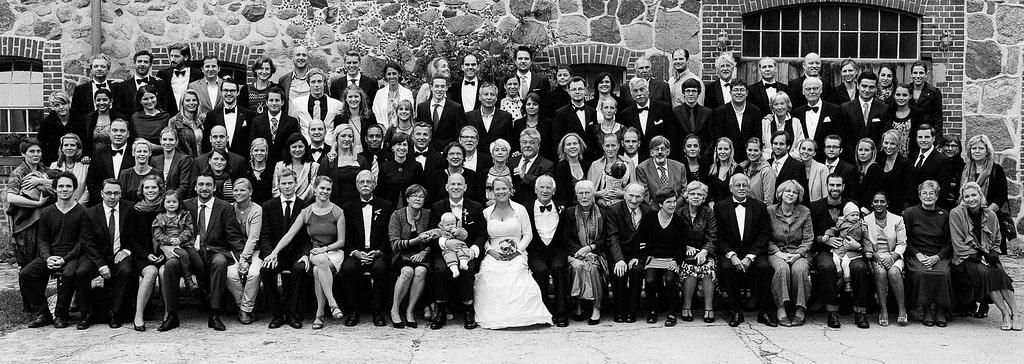 Gruppenfoto der Hochzeitsgesellschaft am Gutshof Woldzegarten in Mecklenburg Vorpommern beim Hochzeitsfotograf Landhochzeit Hamburg