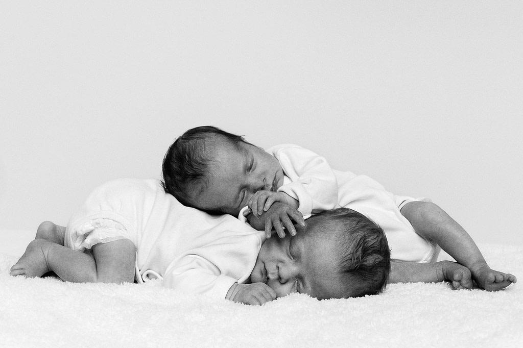 Schlafende Zwillinge auf dem Schafsfell beim Baby Fotoshooting in Hamburg Barmbek