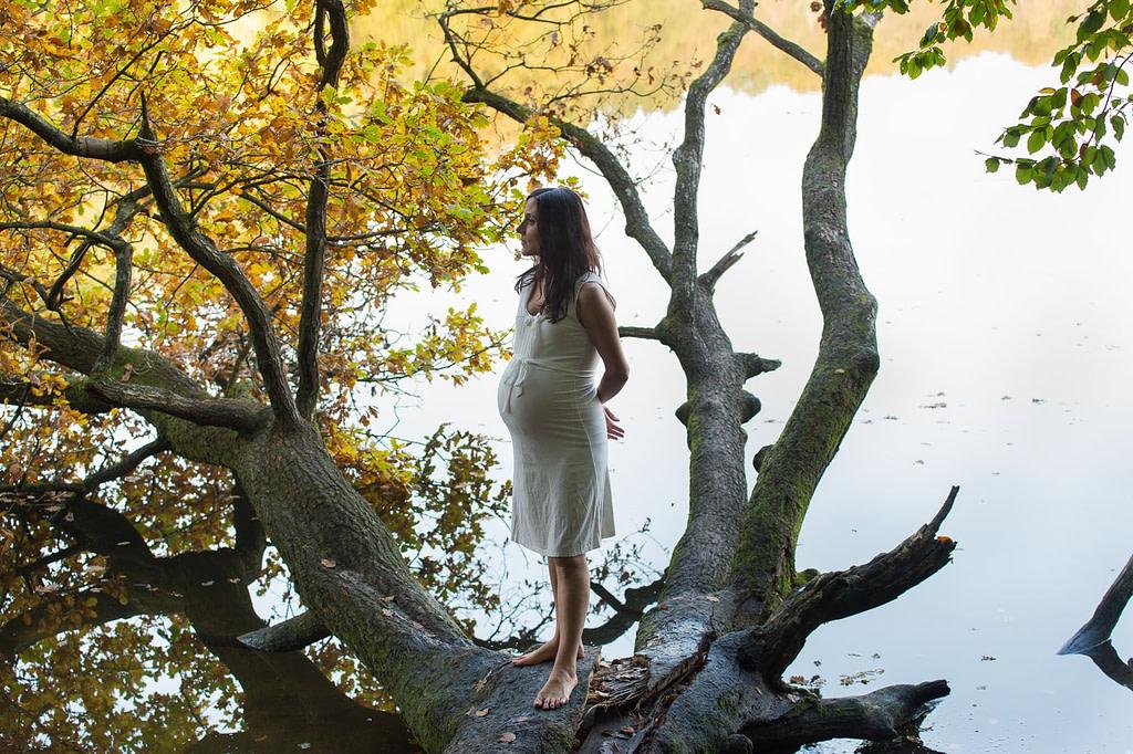 Schwangere im Wasser am Baum mit Herbstlaub beim Babybauch Shooting in Hamburg am See in der Natur