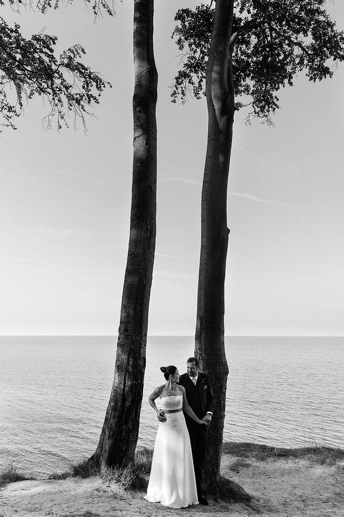 Hochzeitspaar posiert am Steilufer im Buchenwald am Weissenhäuser Strand vor der weiten Ostsee beim Hochzeitsfotograf Hamburg